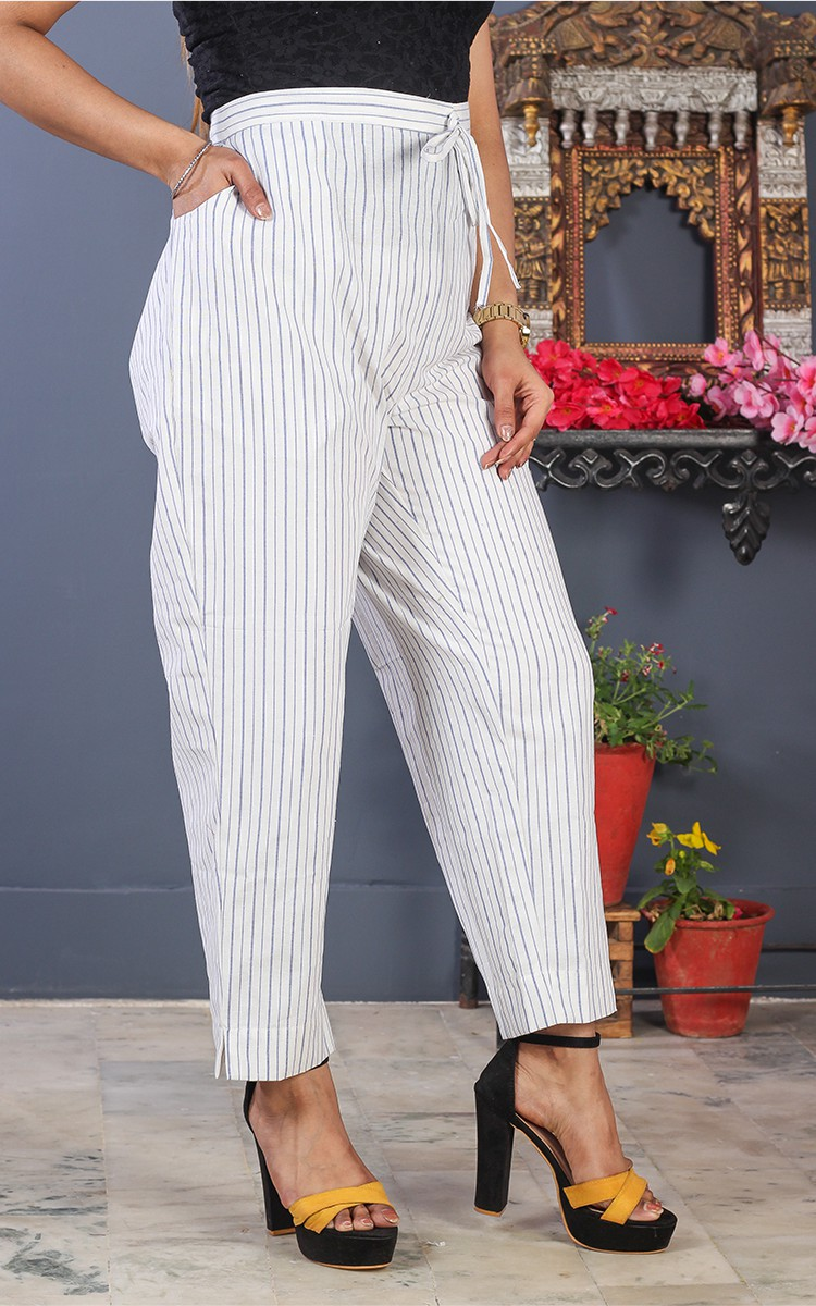 White Black Cotton Stripe Pant-35203