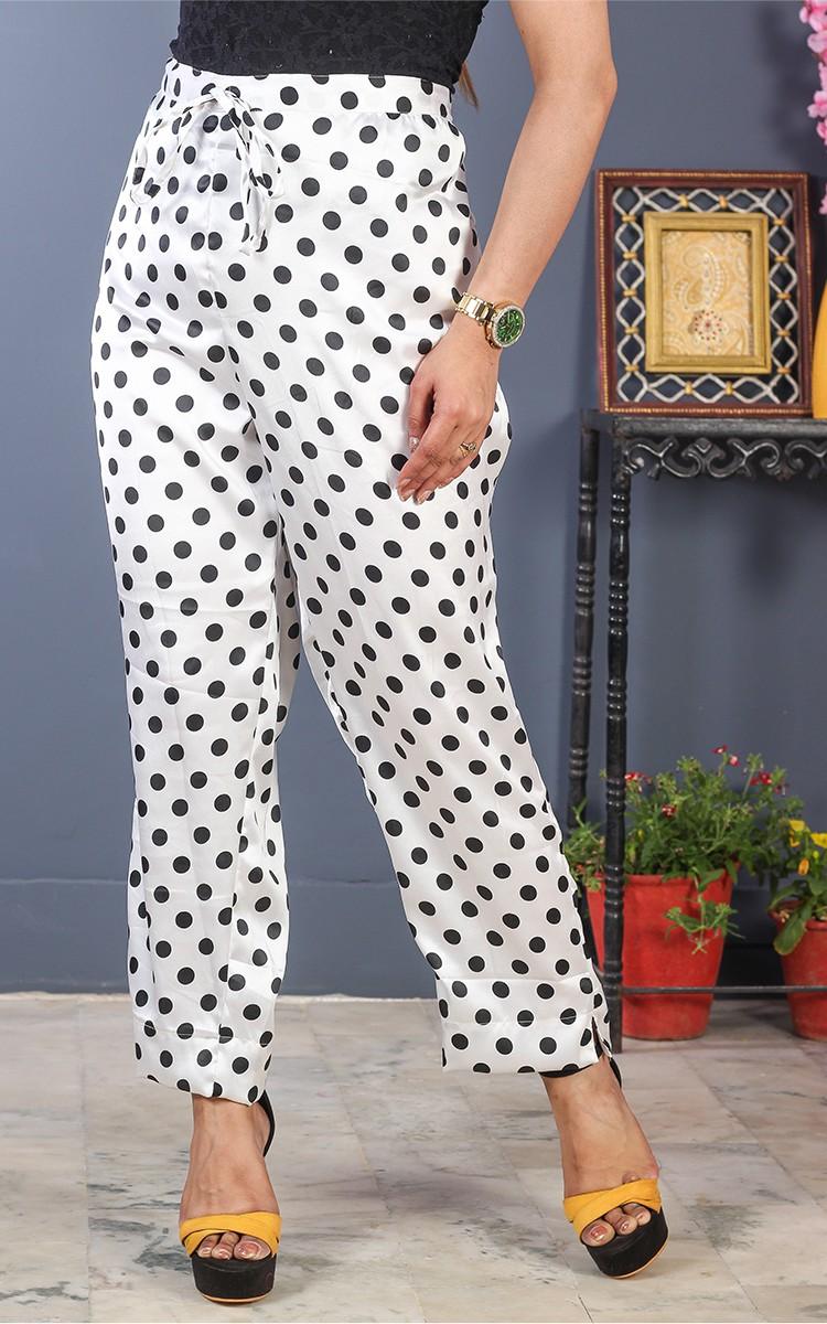 White Black Crepe Polka Women Pant-34708