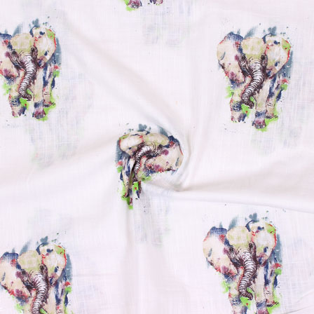 White Black Elephant Digital Print Cotton Slub Fabric-15113