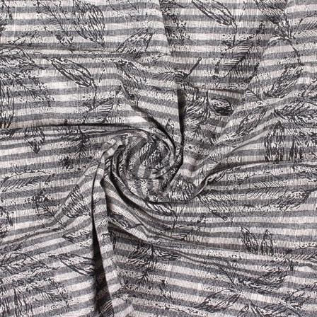 White Black Handloom Khadi Cotton Fabric-40418