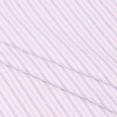 Shirt (2.25 Meter) Fabric-White Pink Handloom-140592
