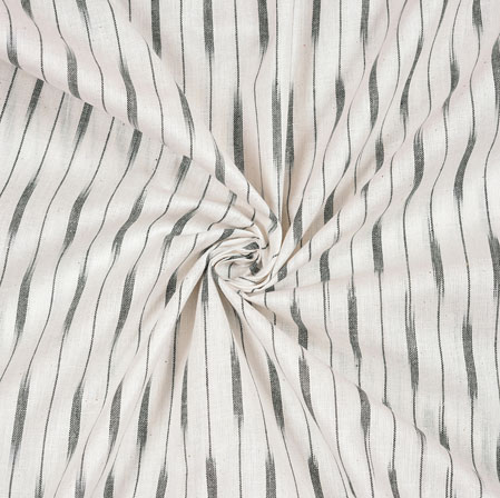 White Black Ikat Cotton Fabric-11106