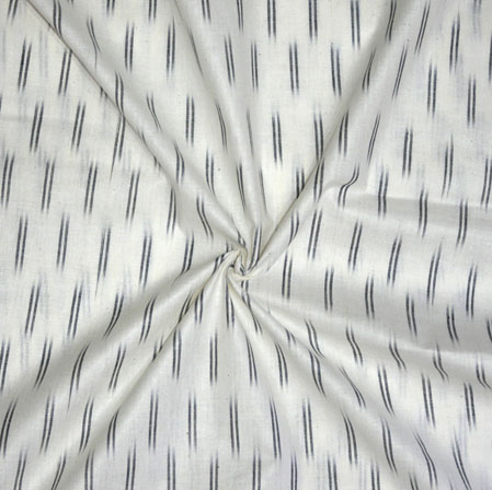 White Black Ikat Cotton Fabric-11176