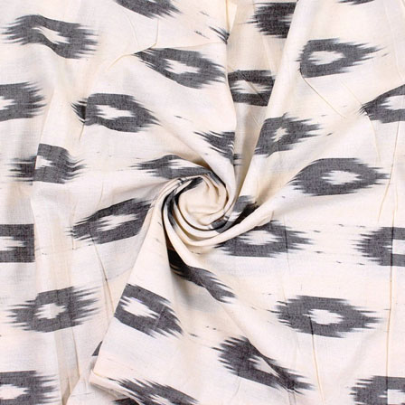 White Black Ikat Cotton Fabric-12203