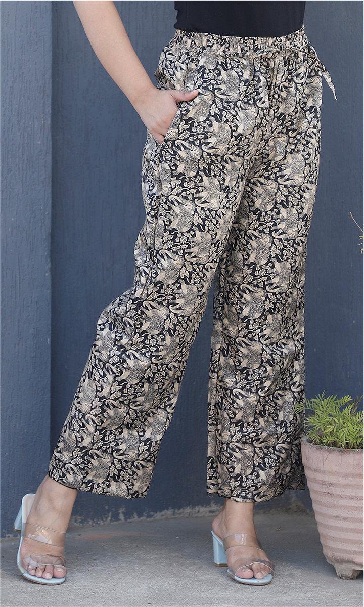 White Black Manipuri Silk Floral Palazzo Pant-34481
