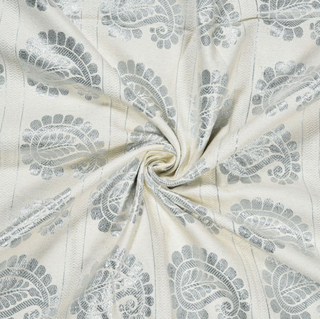 White Black Paisley Cotton Jacquard Fabric-28371