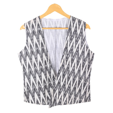White Black Sleeveless Ikat Cotton koti jacket-12246