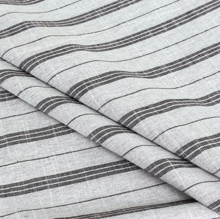 White Black Stripe Handloom Cotton Fabric-40919