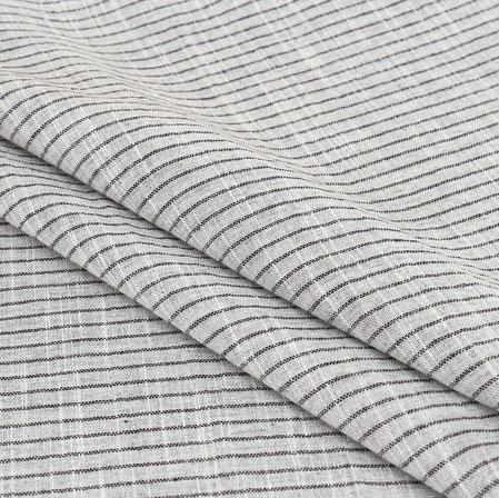 White Black Stripe Handloom Cotton Fabric-40921