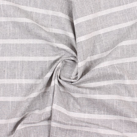 White Black Stripe Handloom Khadi Cotton Fabric-40472