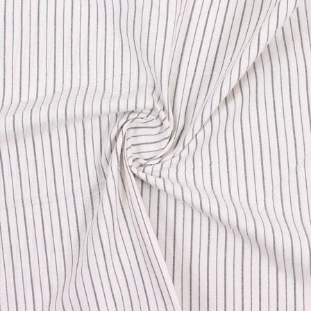 White Black Stripe Handloom Khadi Cotton Fabric-40478