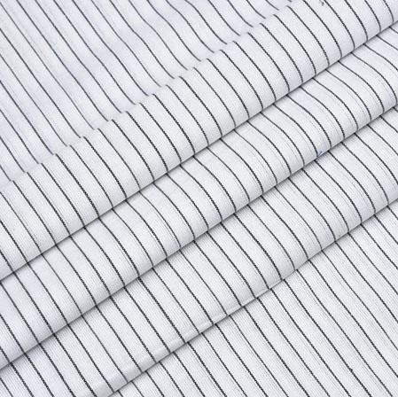 White Black Striped Handloom Cotton Fabric-40829