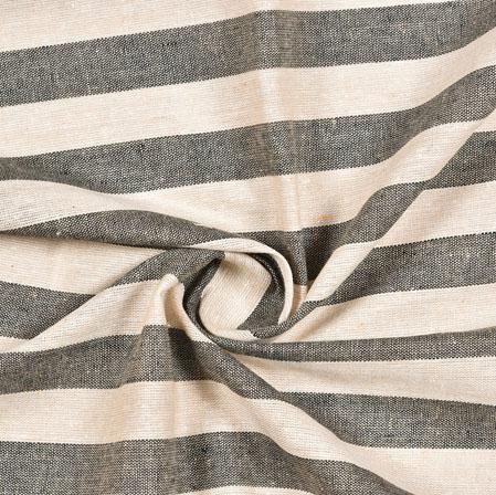 White Black Striped Handloom Cotton Fabric-40835