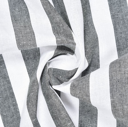 White Black Striped Handloom Cotton Fabric-40836