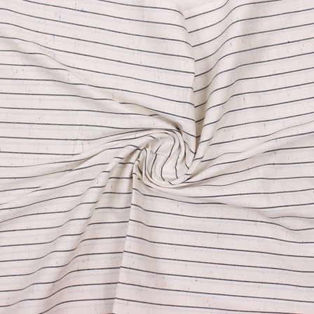 White Black Striped Handloom Cotton Fabric-40764