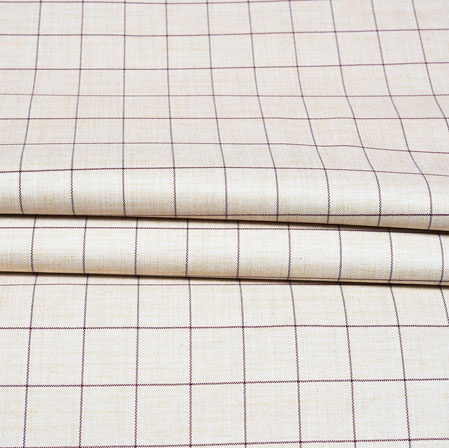 White Black Checks Wool Fabric-90214