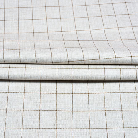 White Black Checks Wool Fabric-90220