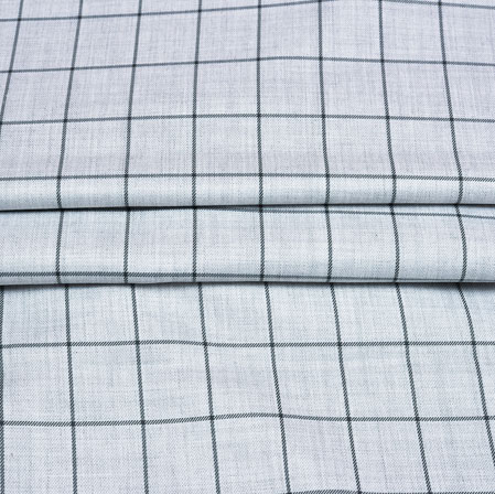 White Black Checks Wool Fabric-90253