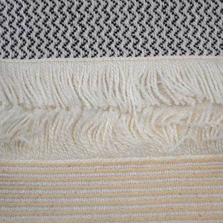 White-Black and Beige Zig Zag Design Cotton Jacquard Fabric-31028