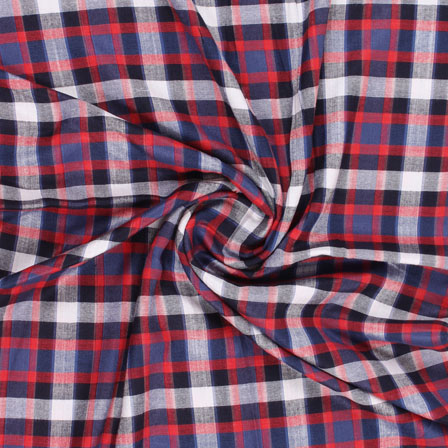 White Black and Blue Check Handloom Cotton Fabric-40453