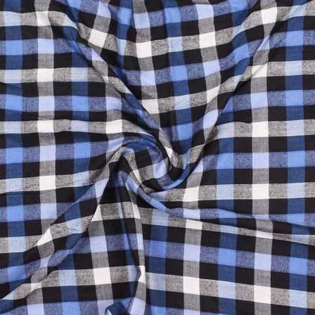 White Black and Blue Check Handloom Khadi Cotton Fabric-40462
