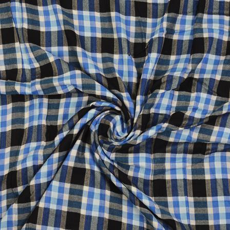 White-Black and Blue Checks Cotton Handloom Khadi Fabric-40273