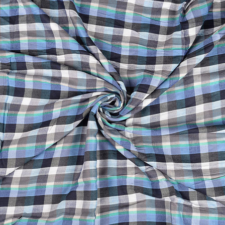 White-Black and Blue Checks Rayon Shirt Fabric-40230