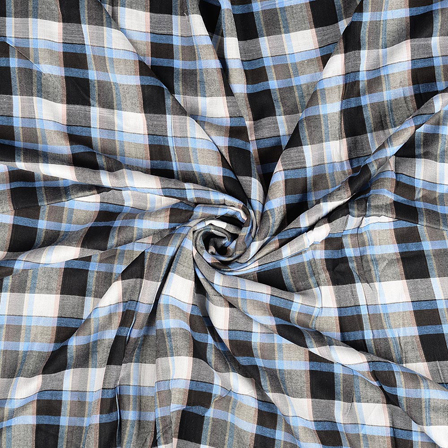 White-Black and Blue Checks Rayon Shirt Fabric-40243