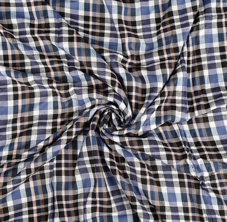White-Black and Blue Checks Rayon Shirt Fabric-40256