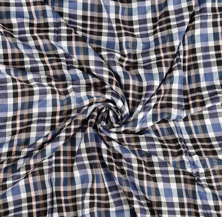 White-Black and Blue Checks Rayon Shirt Fabric-40256