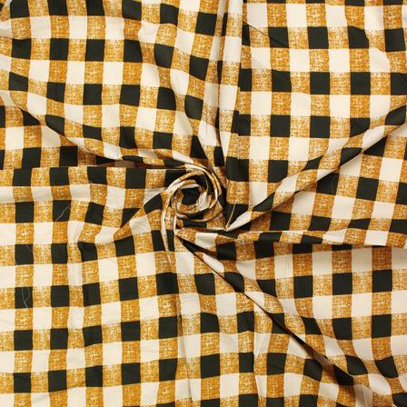 White-Black and Brown Checks Block Print Fabric-14443