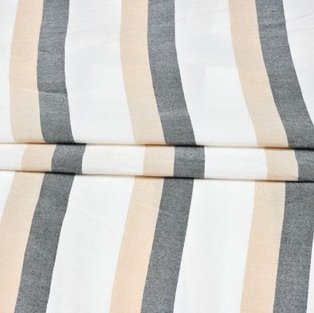 White Black and Cream Stripe Handloom Cotton Fabric-42472