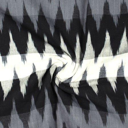 White Black and Gray 3D Ikat Cotton Fabric-11025