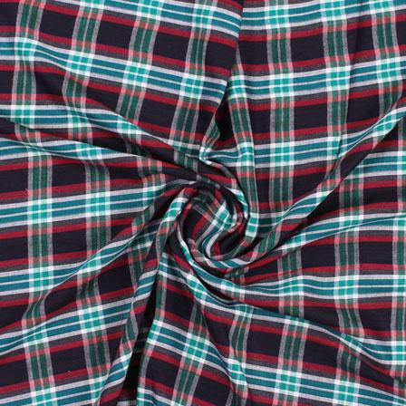 White Black and Green Check Handloom Khadi Cotton Fabric-40451