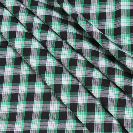 White-Black and Green Checks Handloom Cotton Khadi Fabric-40038