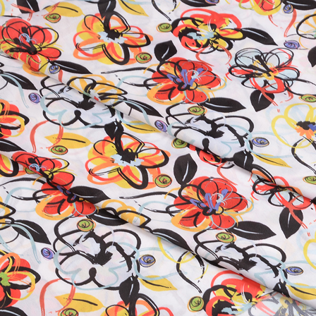 White-Black and Orange Floral Silk Crepe Fabric-18107