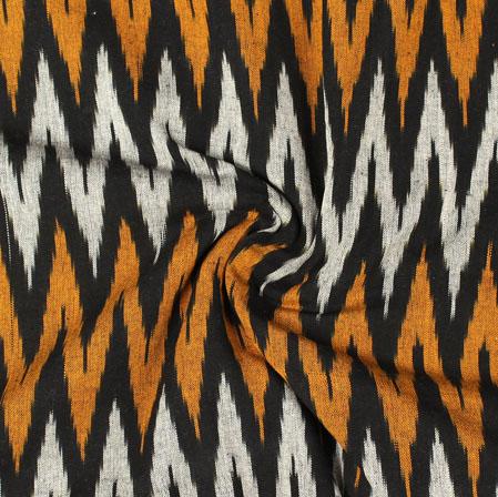 White Black and Orange Ikat Cotton Fabric-11023