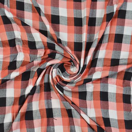 White-Black and Peach Checks Cotton Handloom Khadi Fabric-40274