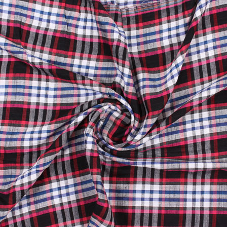 White Black and Pink Check Handloom Khadi Cotton Fabric-40455