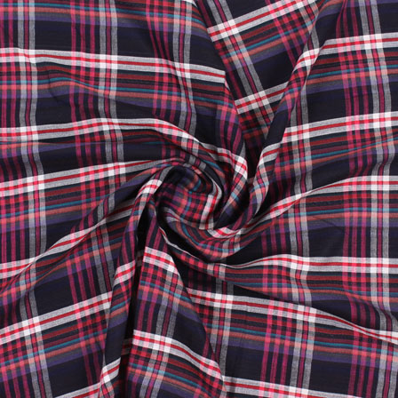 White Black and Pink Check Handloom Khadi Cotton Fabric-40452