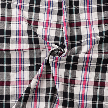 White-Black and Pink Checks Design Cotton Handloom Khadi Fabric-40185