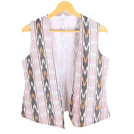 White-Black and Pink Cut Sleeve Ikat Cotton Koti Jacket-12223