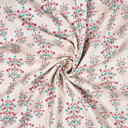 White Black and Pink Floral Block Print Cotton Fabric-28569