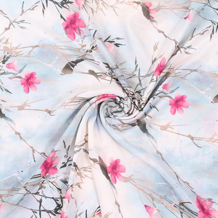 White-Black and Pink Flower Silk Crepe Fabric-18152