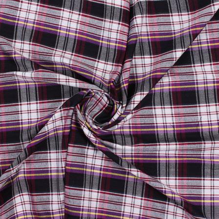 White Black and Purple Check Handloom Khadi Cotton Fabric-40442