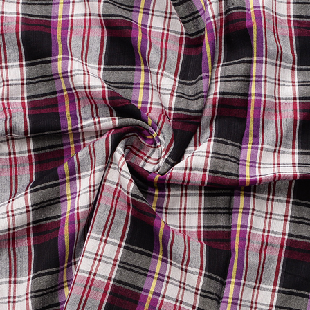 White-Black and Purple Checks Design Cotton Handloom Khadi Fabric-40187