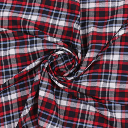 White Black and Red Check Handloom Khadi Cotton Fabric-40440