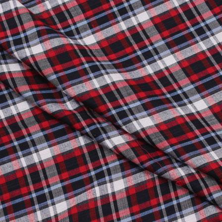 Shirt (2.25 Meter) Fabric-White Black and Red Check Handloom-140440