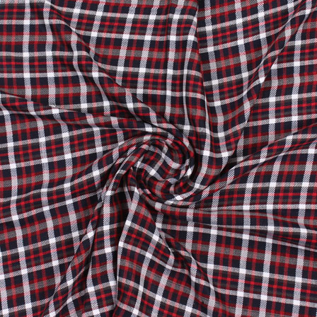 White Black and Red Check Handloom Cotton Fabric-40448