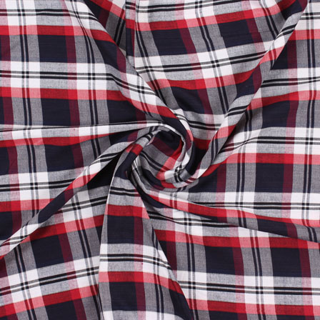White Black and Red Check Handloom Cotton Fabric-40454